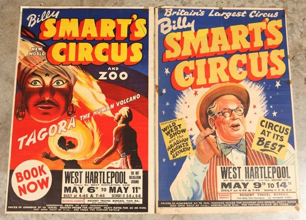 Two Billy Smarts Circus Posters