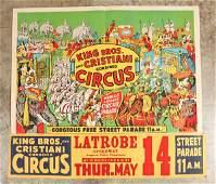 Large King Bros  Cristiani Circus Poster