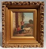 Oil Painting of Children & Goat