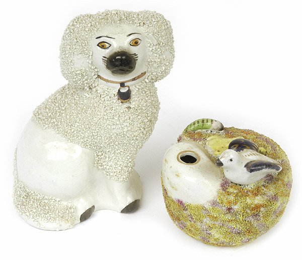6: STAFFORDSHIRE QUILL HOLDER AND DOG