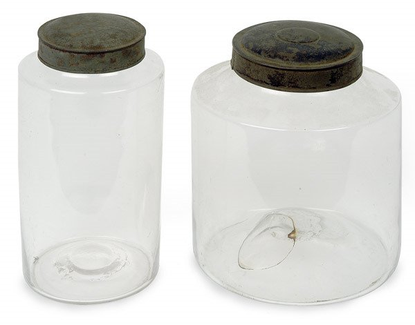 14: TWO EARLY BLOWN APOTHECARY STORAGE JARS WITH ORIGIN