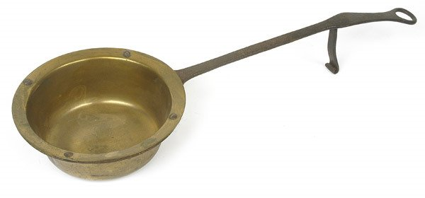 15: EARLY BRASS WROUGHT IRON DIPPER
