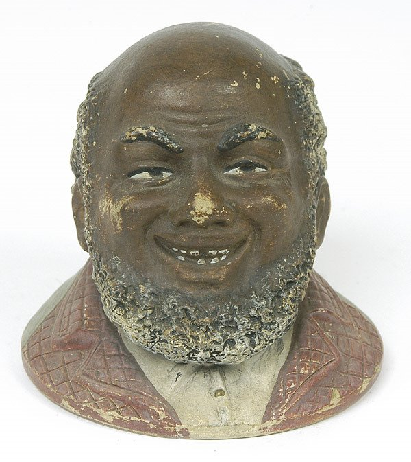 23: POTTERY BUST OF AFRICAN AMERICAN MAN
