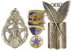 TWO ODD FELLOWS JEWELS & U.S.D. 1812 PINS