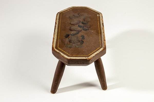 Early Paint Decorated Foot Stool - 7