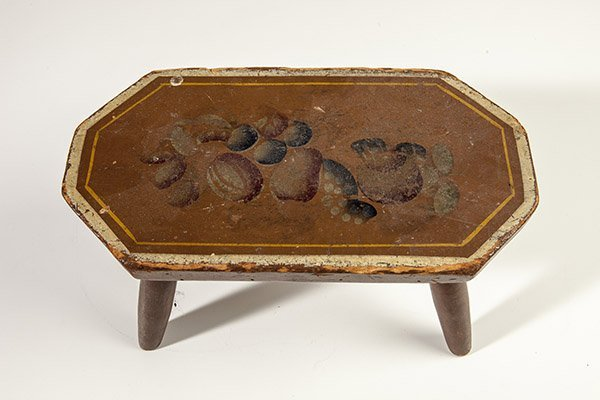 Early Paint Decorated Foot Stool - 8
