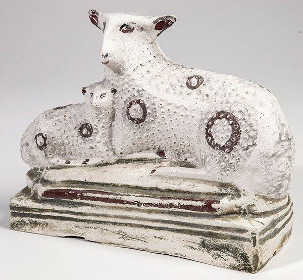 Chalkware Sheep and Lamb Figure