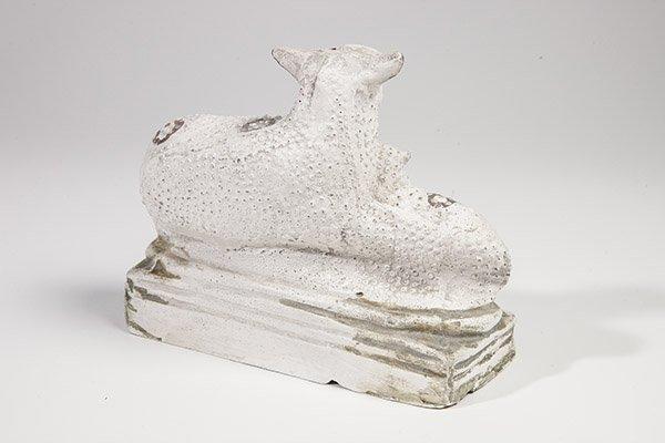 Chalkware Sheep and Lamb Figure - 2