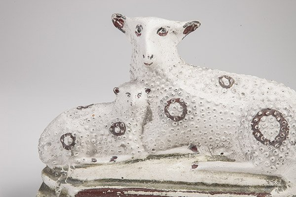 Chalkware Sheep and Lamb Figure - 5