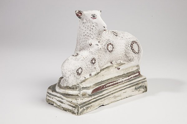 Chalkware Sheep and Lamb Figure - 6