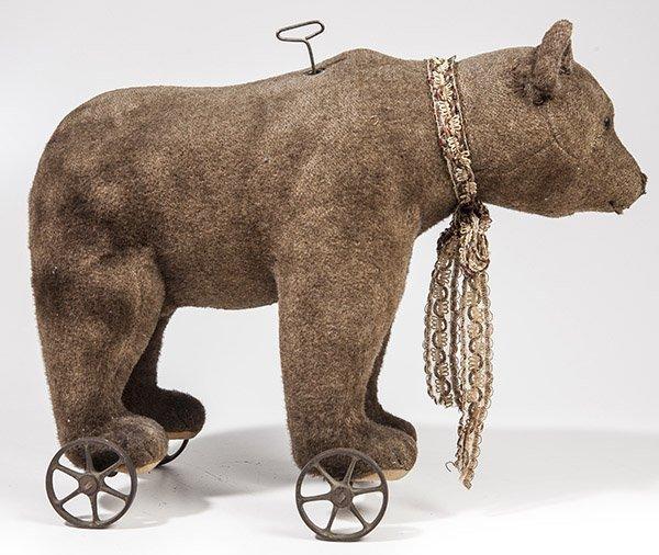 Early Steiff Teddy Bear on Wheels