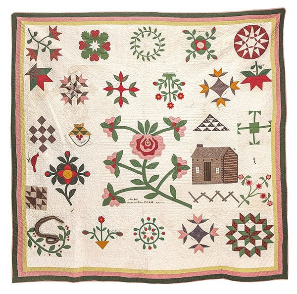 Outstanding 1855 Clermont Co., Ohio Friendship Quilt
