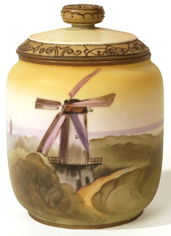 1001: NIPPON SCENIC HANDPAINTED HUMIDOR WITH WINDMILL