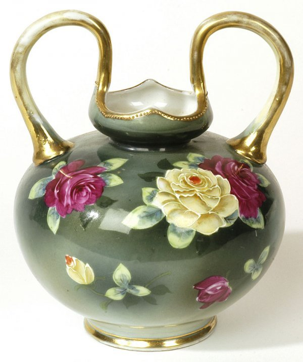 1003: NIPPON VASE WITH HANDPAINTED ROSES
