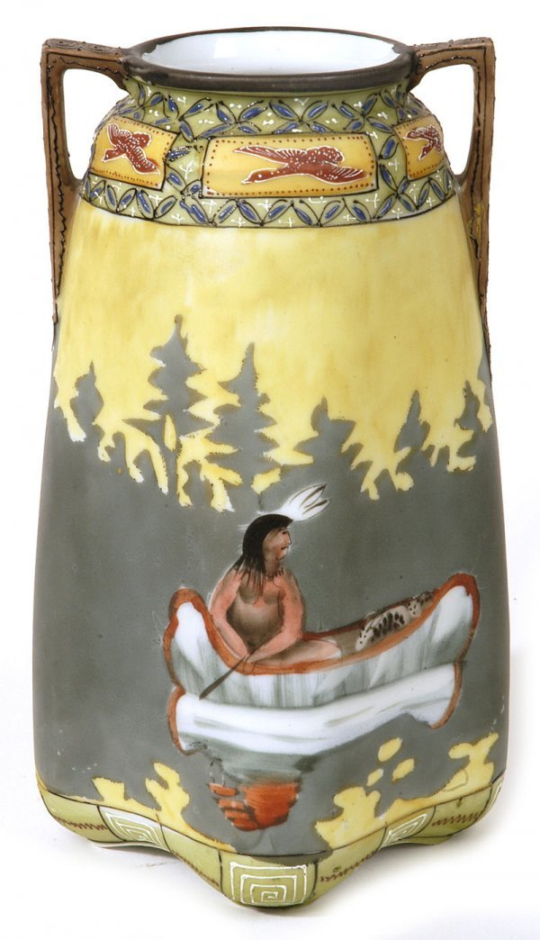 1010: NIPPON VASE WITH INDIAN IN CANOE