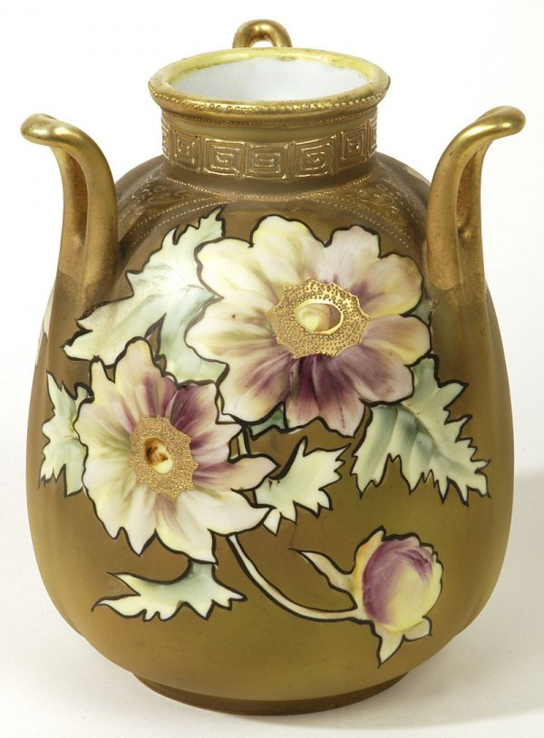 1015: NIPPON TRI-HANDLED VASE WITH GOLD AND FLORALS