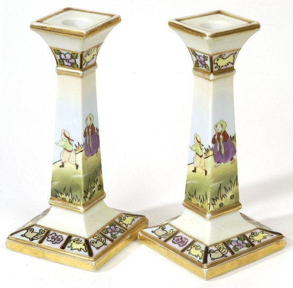 1016: PAIR OF NIPPON CANDLESTICKS WITH CHILDREN