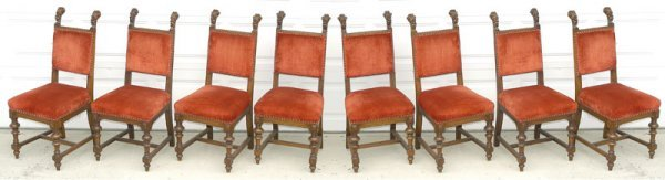 1169: SET OF EIGHT CARVED WALNUT VICTORIAN DINING CHAIR