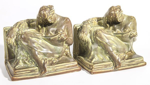 """Pair of Rookwood """"The Reader"""" Bookends"""
