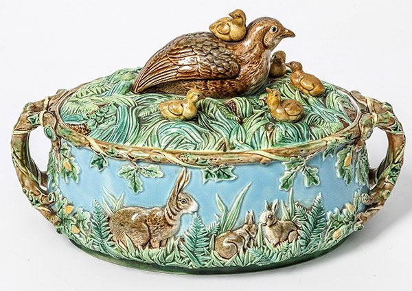 Important Majolica George Jones Quail Game Dish