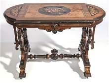 American Renaissance Victorian Inlaid Parlor Table