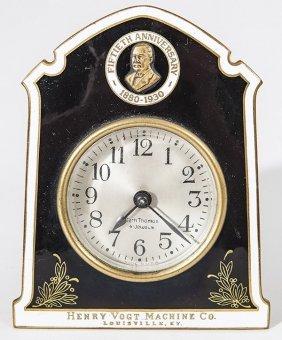 Seth Thomas Enameled Advertising Desk Clock
