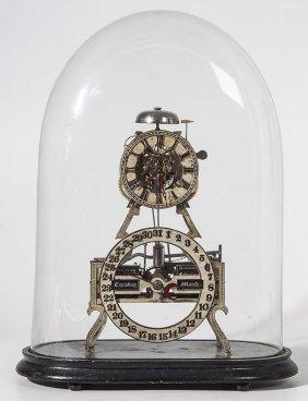 Rare Ithaca Skeleton Calendar Clock
