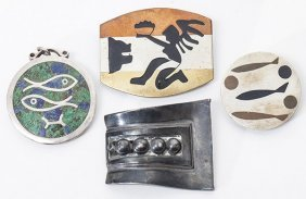 Four Pieces Of Silver Mexican Jewelry