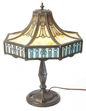 Large Bent Panel Metal Overlay Slag Glass Lamp