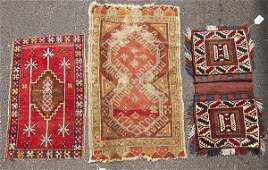 Two Antique Tribal Oriental Prayer Rugs Plus