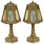 295A: PR. OF SLAG GLASS BOUDOIR LAMPS