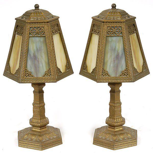 PR. OF SLAG GLASS BOUDOIR LAMPS