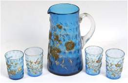 397: VICTORIAN ART GLASS PITCHER AND FOUR TUMBLERS WITH