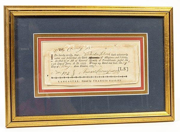 Revolutionary War Pa. 1777 Oath of Allegiance