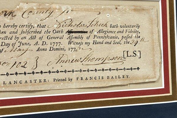 Revolutionary War Pa. 1777 Oath of Allegiance - 2