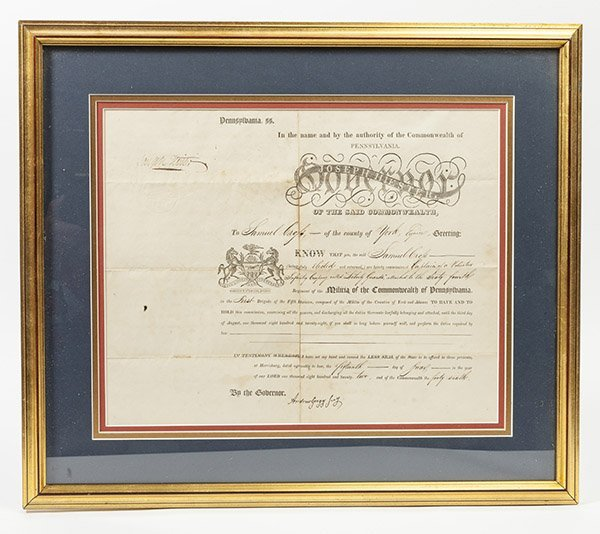 Penn. Militia Appointment Signed by Gov. Hiester