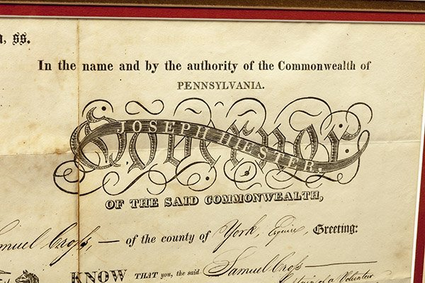 Penn. Militia Appointment Signed by Gov. Hiester - 3