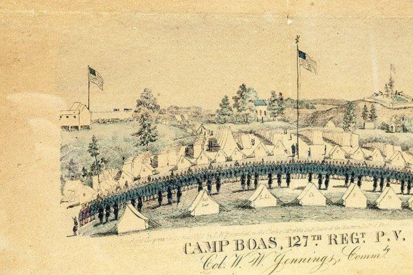 Civil War Lithograph Camp Boas 127th Regt. P.V. - 3