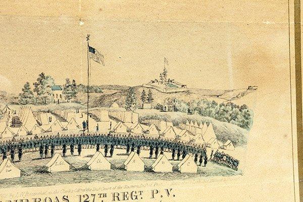 Civil War Lithograph Camp Boas 127th Regt. P.V. - 4