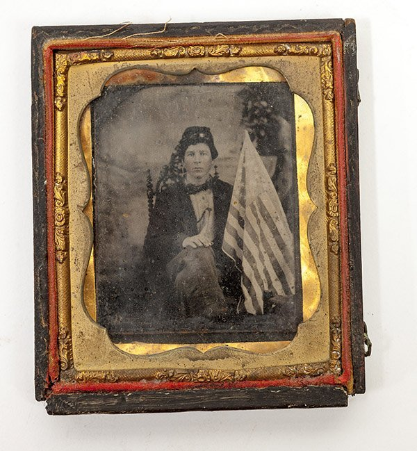 Cased Tintype of Union Soldier with Flag