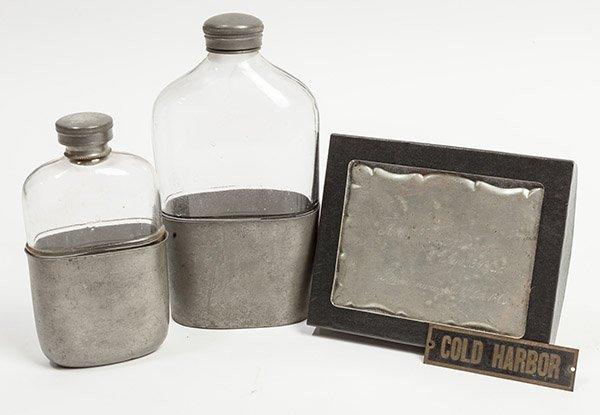 Civil War Era Flasks & Memorial Plaque