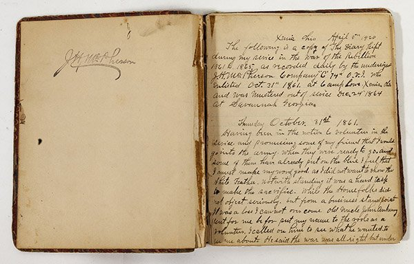 John H. McPherson 74 OVI Civil War Diary