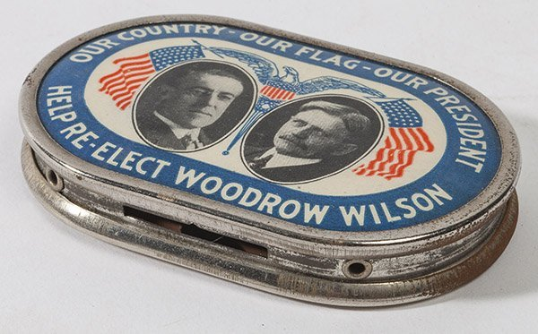 Rare Tin & Celluloid Woodrow Wilson Donation Bank
