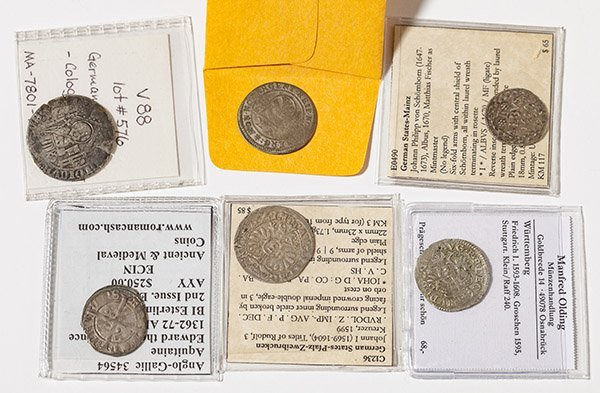 6 England & German Medieval Coins