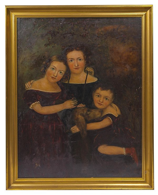Early Oil Portrait of 3 Children & Dog