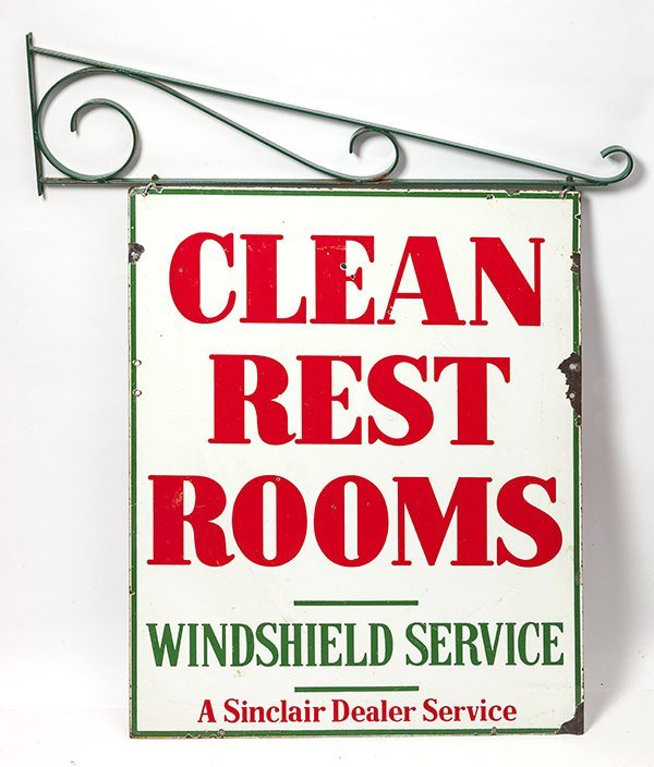 Sinclair Clean Rest Rooms Porcelain Sign