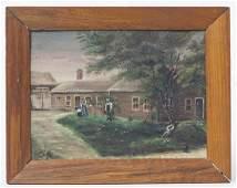 Folk Art Painting Of African American Farm Scene