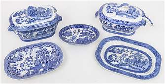 Two Staffordshire Willow Sauce Tureens  Under plates