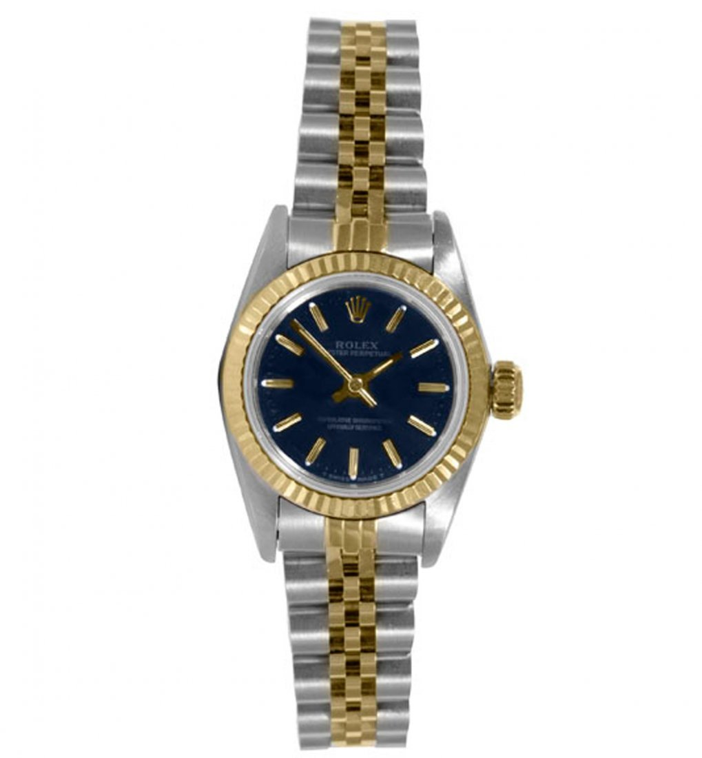 Rolex Ladies 2tone Oyster Perpetual - Blue Dial - 67193