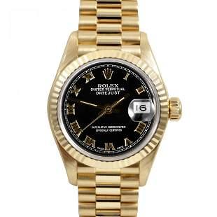 Rolex Ladies 18K Gold President - Black Roman Dial